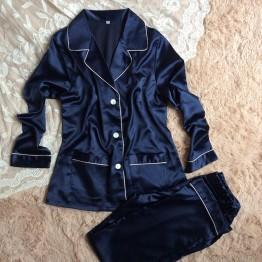 Women's silk long sleeve sleepwear set 2 piece