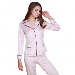 Women's silk long sleeve sleepwear set 2 piece