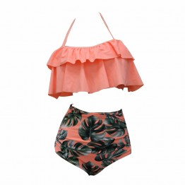 Women's double ruffle bikini set high waist
