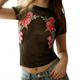 Women's  Mesh T-shirt Rose Embroidery