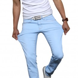 New men's fashion stretch skinny jeans solid color