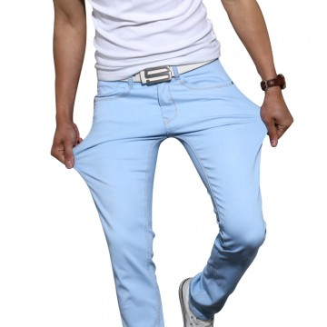 New men s fashion stretch skinny jeans solid color32439604185