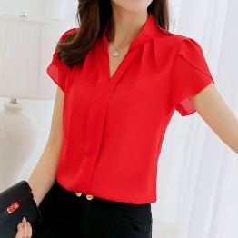 Summer Women's Work Blouse And Shirt Office Lady Ruffle Sleeved V-neck