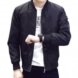 Spring Autumn Casual Solid Fashion Slim Bomber Jacket Male
