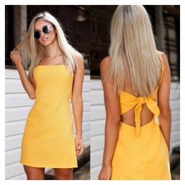 Women summer beach Bow dress sexy sleeveless