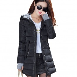 Women's winter hooded warm coat slim plus size candy color