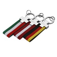 Auto Sport Metal+Cloth Italy Flag Germany Flag Car Key Ring