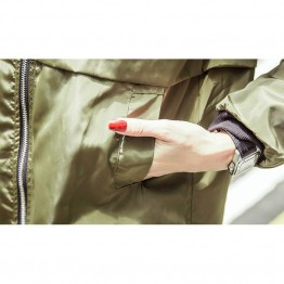 Army Green Casual Women Bomber Jacket