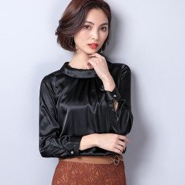 Women's Blouse Spring Casual Silk Loose Long Sleeve