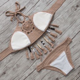 Women's Crochet Bikini Top Tassel Beachwear Set Handmade