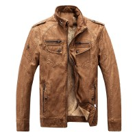 Men's leather jacket warm plus velvet coat leisure