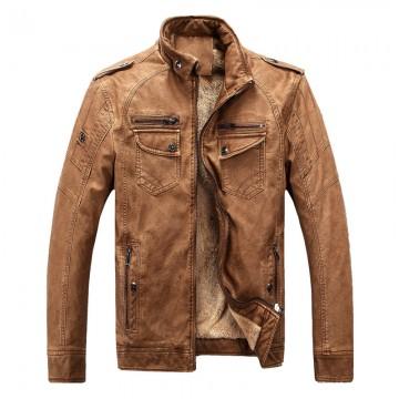 Men s leather jacket warm plus velvet coat leisure32252826426