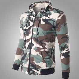 Slim Camouflage Army Hooded Bomber Jacket Men