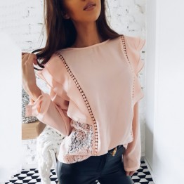 Sexy Lace Hollow Stitched Chiffon Blouse