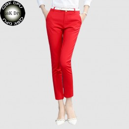 Business attire red High-quality casual office wear pencil pants women
