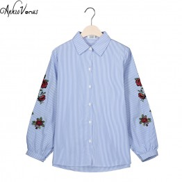 Rose Floral Embroidery Striped Women Long Sleeve Casual