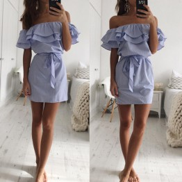 Women's Dress Short Mini Striped Pattern Slash Neck