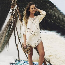 Women's Beach Cover Up Hollow Crochet