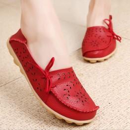 Genuine Leather Shoes  Flexible Round Toe Nurse Casual