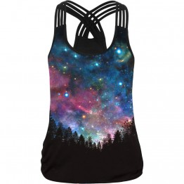 Space 3d Print Tank Tops Women Sleeveless Vest O-Neck Black Camisole Black Workout Tops Fitness Clothing Big Size Tees Blusa