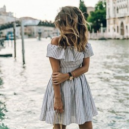 Women's Striped Off Shoulder Dress