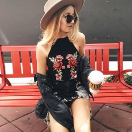 Women's Embroidered Blouse Sexy Lace