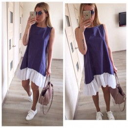 Women's Loose Patchwork Sleeveless Ruffles O-Neck