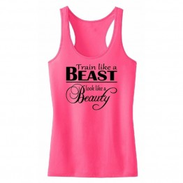 Women's Printed Sleeveless fitness T-Shirt