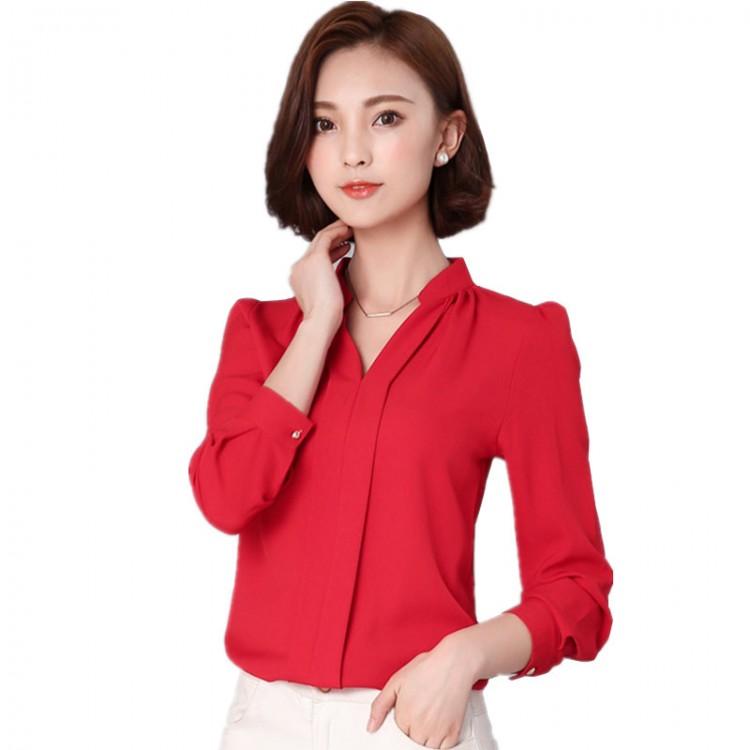 Women s Long Sleeve Fashion Blouse ChiffonTops 5c7fda775796