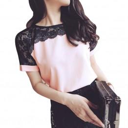 Women's  Summer Blouse Lace Chiffon Casual