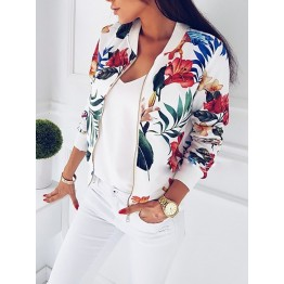 Women's Casual Bomber Jacket Retro Floral Zipper Up