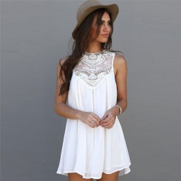 Women's Summer beach Dress White Lace