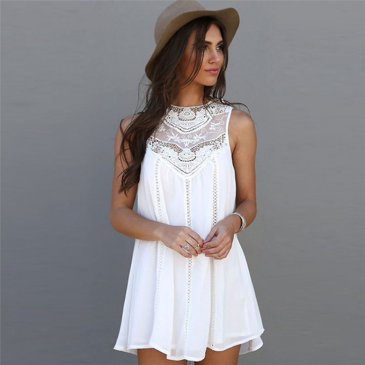 d8b28086c2 Women s Summer beach Dress White Lace32824331103