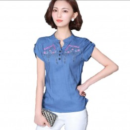 Women's top cotton linen floral embroidery blouse